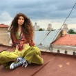 Girl on a roof — Stock Photo #2825900
