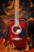Guitar in flame — Stock Photo