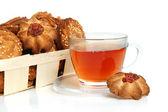 Thee en koekjes — Stockfoto