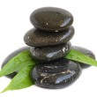 Spa stones and green leaves — Stock Photo