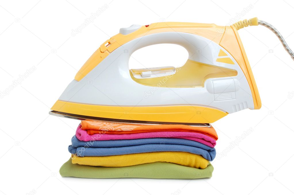 Iron and a pile of clothes on a white background — Stock Photo #3139619
