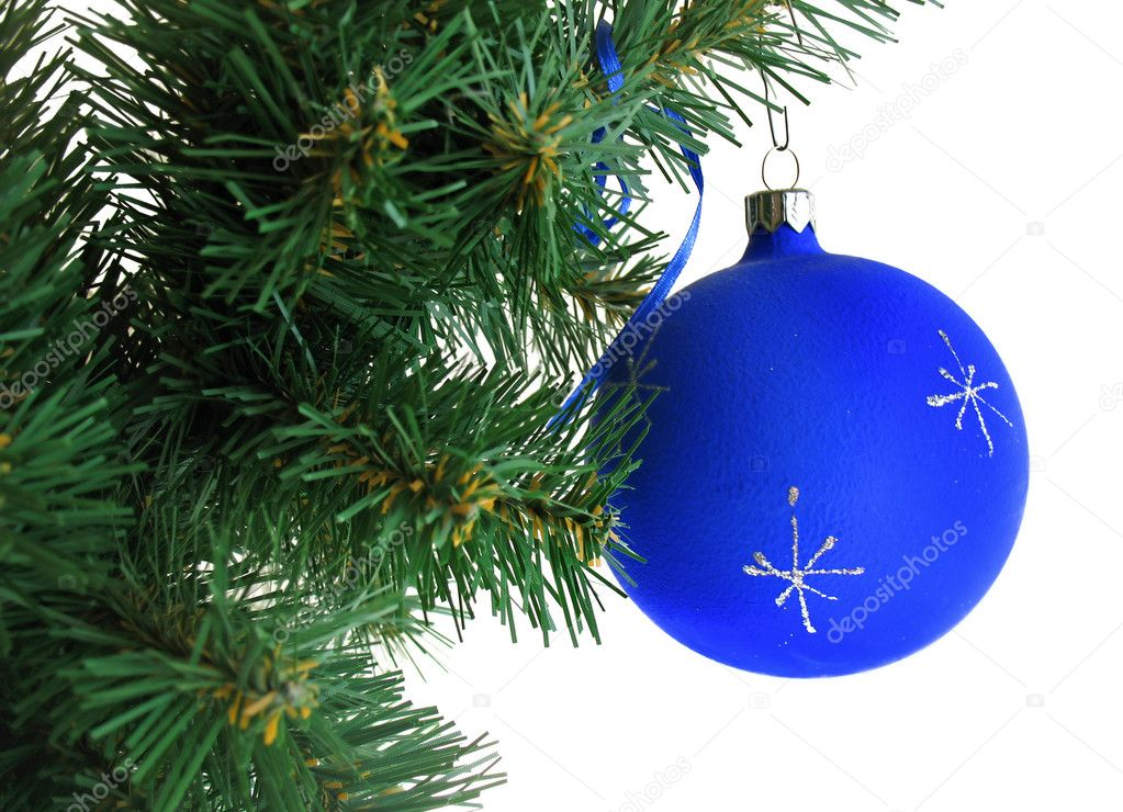 Blue ball on Christmas tree — Stock Photo #3197786