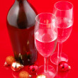Christmas balls and champagne — Stock Photo #3594156