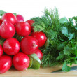 Fresh radish and greens — Stock Photo
