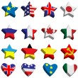 Stock Vector: Flags in form of stars and hearts