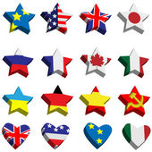 Flags in the form of stars and hearts — Stock Vector