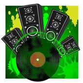 Loudspeaker and vinyl disk — Stock Vector