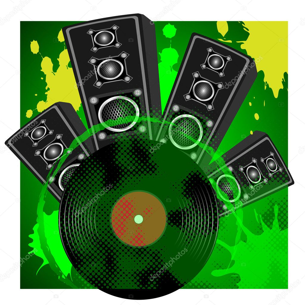 Loudspeaker and vinyl disk on a green background with stains  Stock Vector #3042511