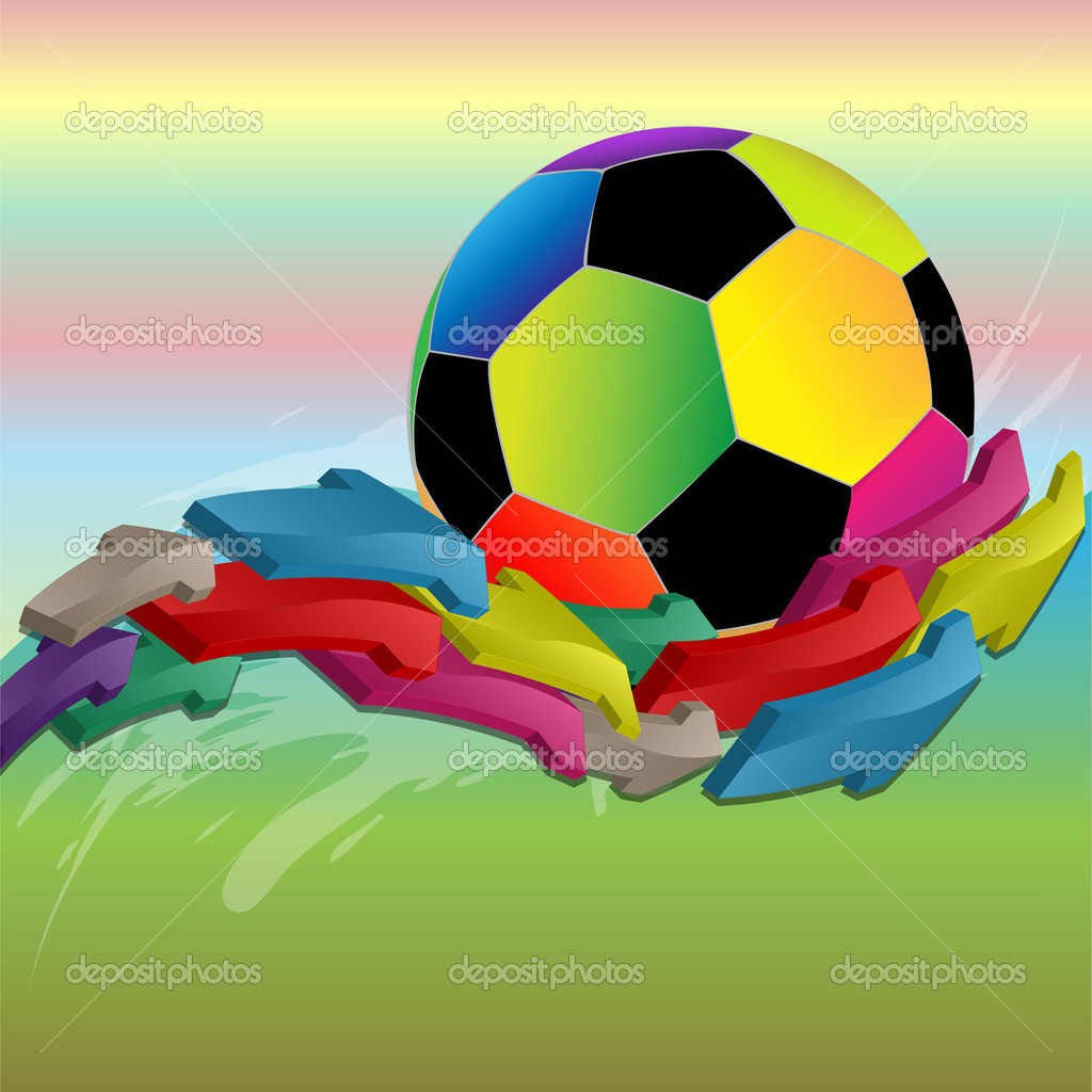 Color football  and arrows on a color abstract background — Stock Vector #3122749