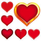 Conjunto de 6 corazones — Vector de stock