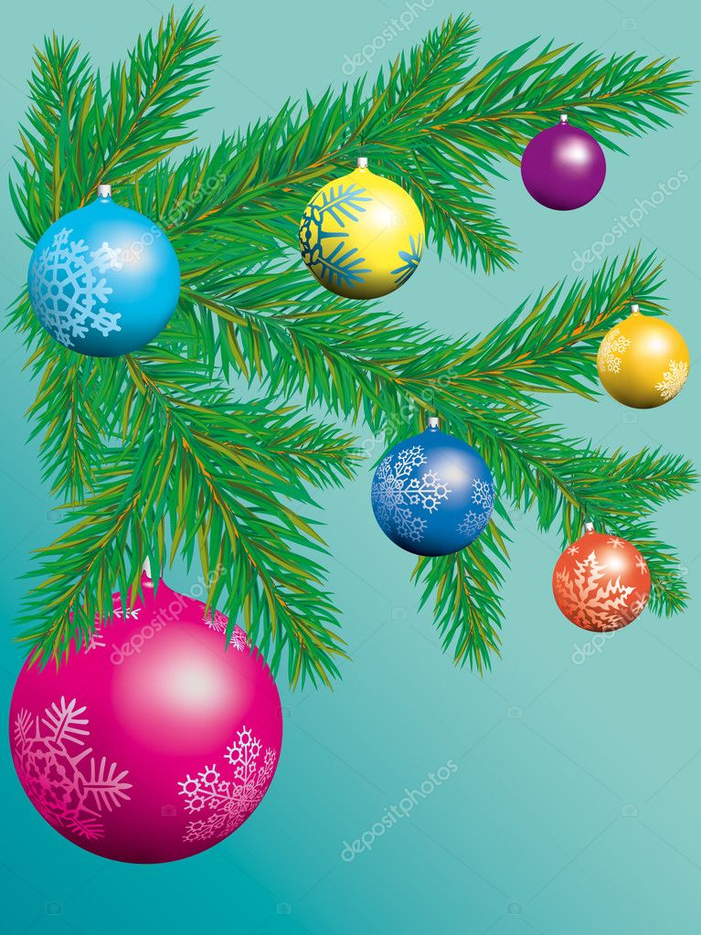 Christmas tree with glass balls  Stock Vector #2843054