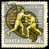 USSR - CIRCA 1963 Competition on boxing — Stock Photo