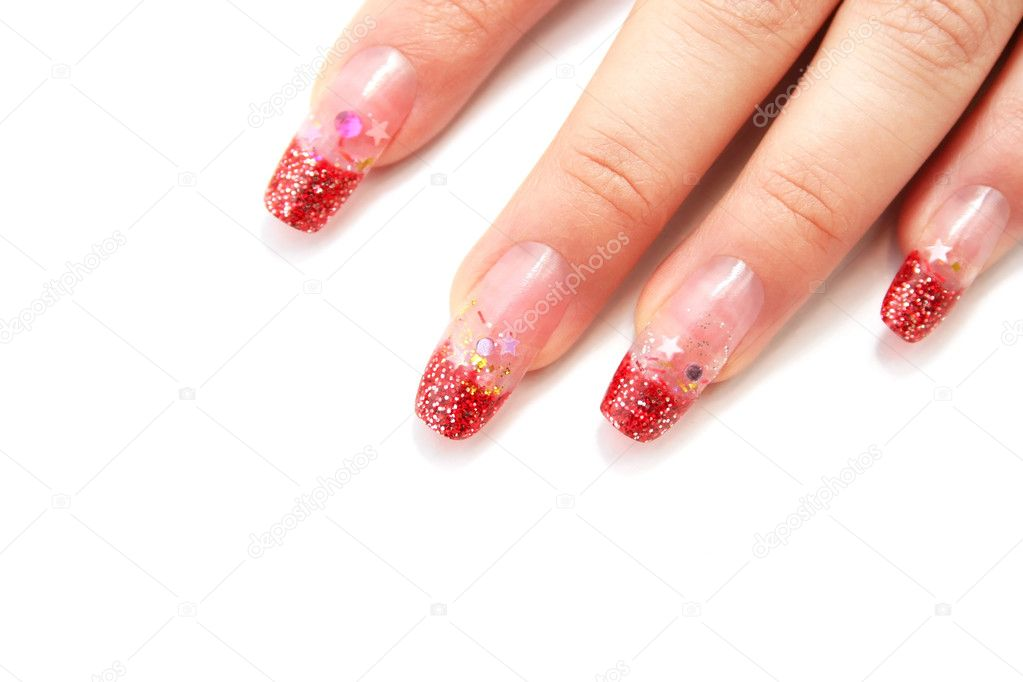 Цветы на ногтях на белом фоне 128