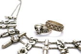 Necklace and rings — Stock Photo
