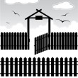 Black fence with gate - elements for design - Stock Vector