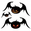 Halloween pumpkins with wings - Stock Vector