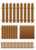 Brown fence with wooden texture — Stock Vector