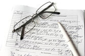 Glasses and recipe of the doctor — Foto de Stock