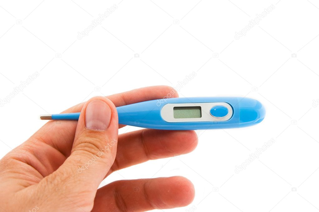 Hand holding a digital fever thermometer. isolated on white. — Stock Photo #3552276