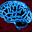 Humans brain and binary code - Stock Photo