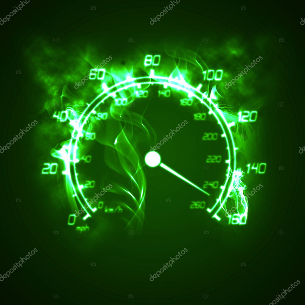 Illustration of the burning speedometer in the smoke — Stock Photo #3197211