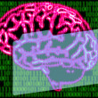 Stock Photo: Humans brain and binary code
