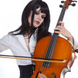 Romantic girl playing cello — Stock Photo