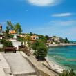 View of city Old Nessebar and sea - Stock Photo