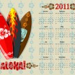 Vector Aloha calendar 2011 with surf boards — Stock Vector