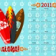 Vector blue Aloha calendar 2011 with surf boards — 图库矢量图片