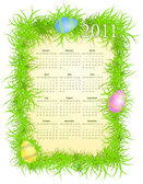 Vektor-illustration von ostern-kalender 2011 — Stockvektor