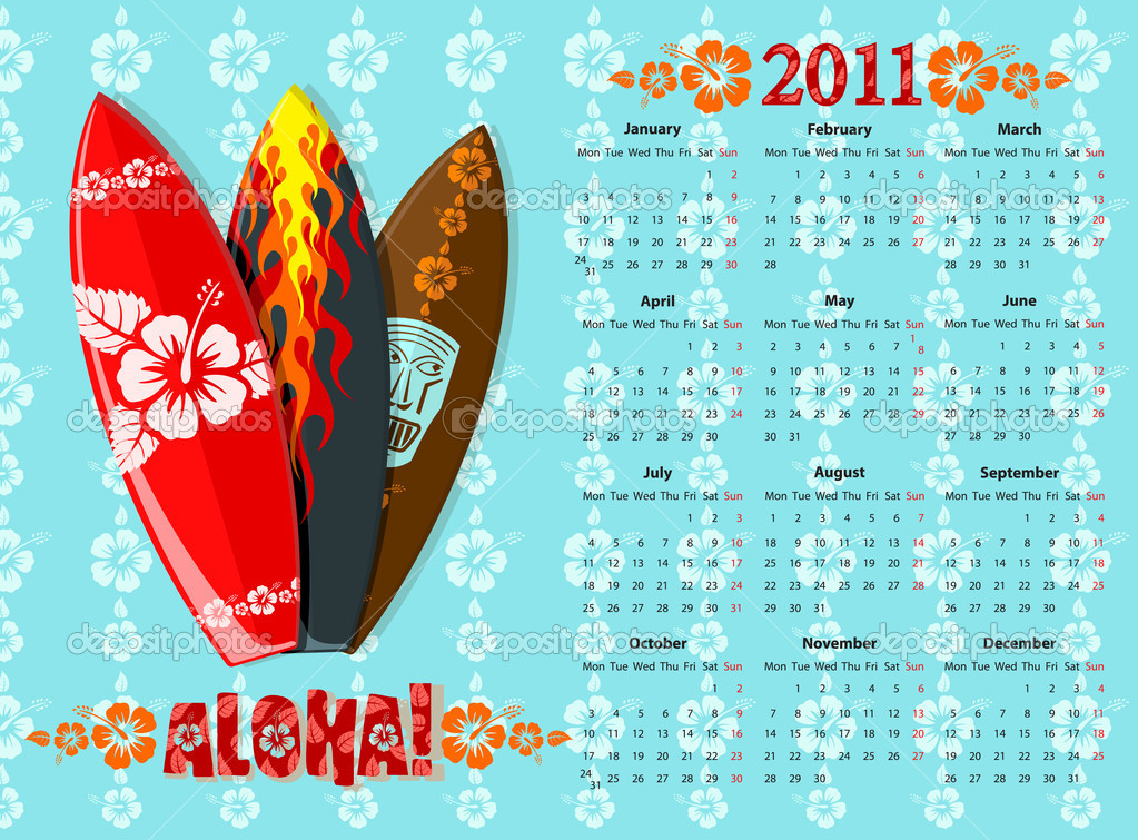 European blue Aloha vector calendar 2011 with surf boards, starting from Mondays — Stock Vector #3492972