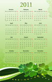 Vector illustration of 2011 calendar for St. Patrick — Stock Vector