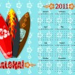 Vector blue Aloha calendar 2011 with surf boards — Векторная иллюстрация