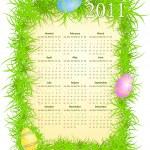 Vector illustration of Easter calendar 2011 — Stock Vector