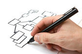 Hand drawing block diagram — Stock Photo