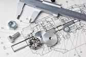 机械计划和卡钳 — 图库照片