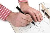 Hand drawing block diagram — Stock Photo