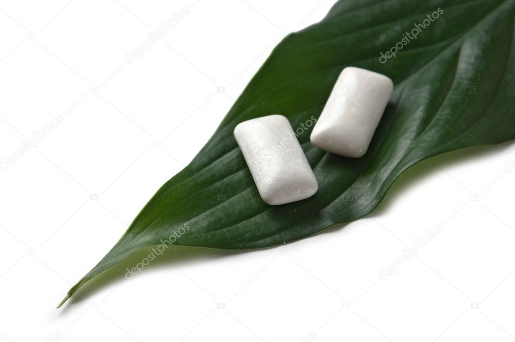Chewing gum on a green leaf isolated on a white background  Stock Photo #3062375