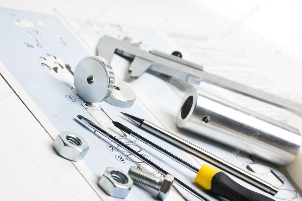 Technical drawings with tools and parts — Stock Photo #3115571