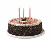 Cake and three candles — Stock Photo