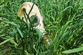 Gas masks in the grass — Stock Photo