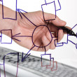 Hand draws a block diagram - Foto de Stock
