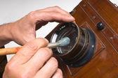 Szczotka do czyszczenia obiektywu — Zdjęcie stockowe