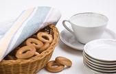 Tea set and bagels — Stock Photo