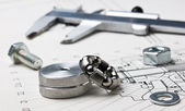 Mechanical scheme and calipers — Stockfoto