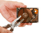 Open hard drive in hand — Stockfoto