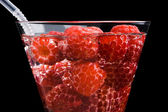 Berries raspberries in a wineglass — Stock Photo