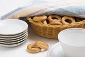 Zestaw herbaty i bułeczki — Zdjęcie stockowe