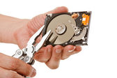 Open hard drive in hand — Stock Photo